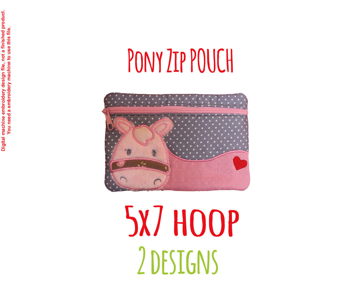 Pony Pouch - 5x7 hoop - ITH - In The Hoop - Machine Embroidery Design File, digital download millymellydesigns