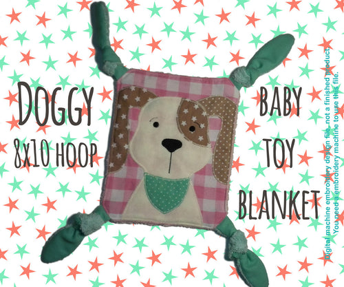 DOGGY 8x10 hoop - Baby Toy Blanket - ITH - In The Hoop - Machine Embroidery Design File, digital download millymellydesigns