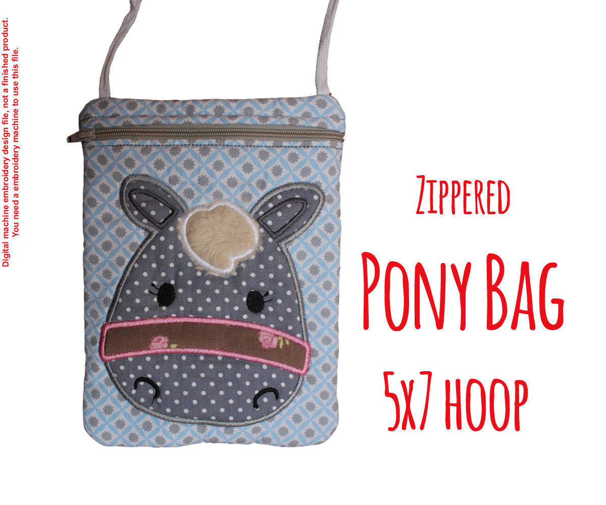 Pony Bag - 5x7 hoop - ITH - In The Hoop - Machine Embroidery Design File, digital download millymellydesigns