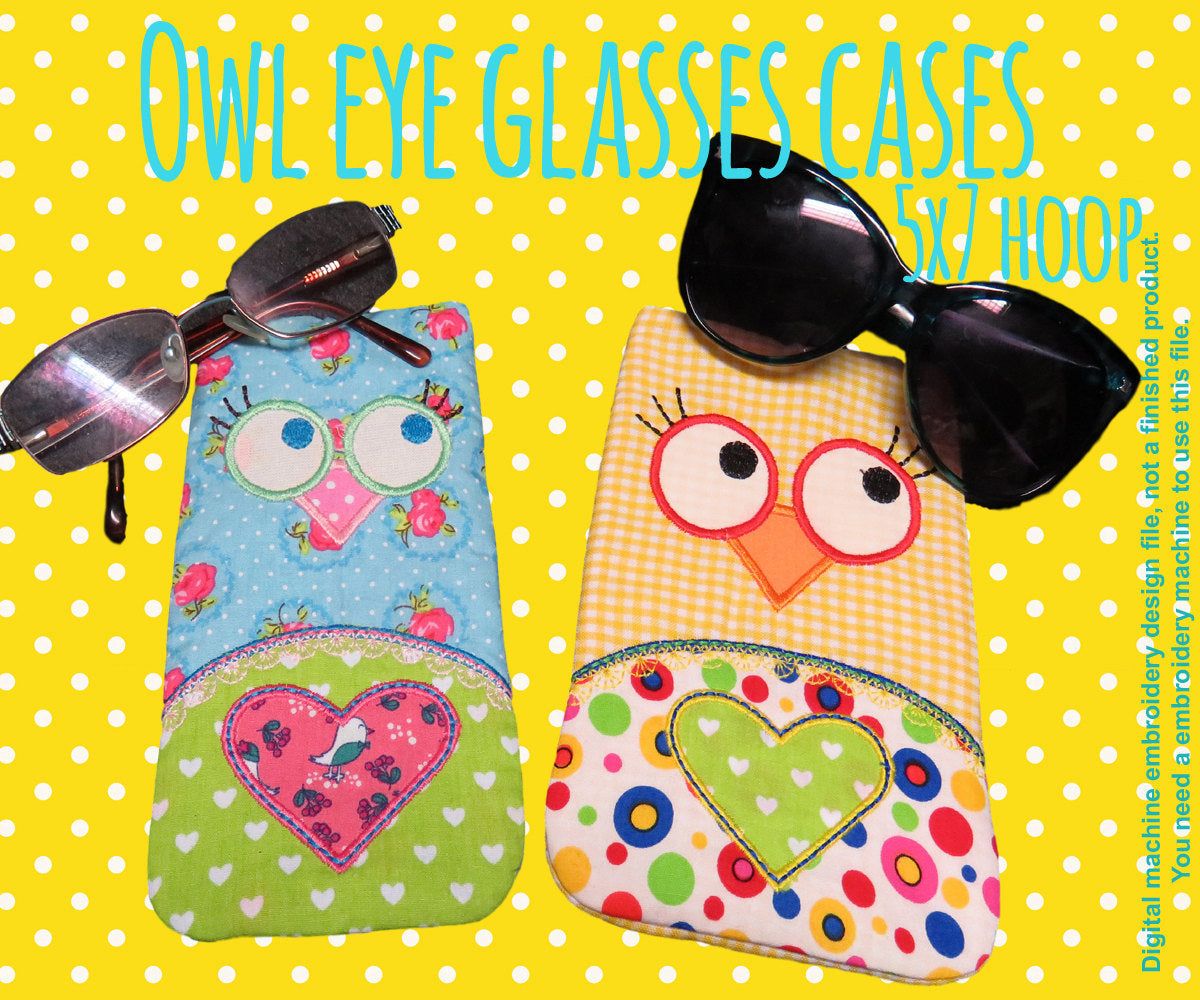 OWL eye glasses cases set - 5x7 hoop - In The Hoop - Machine Embroidery Design File, digital download millymellydesigns