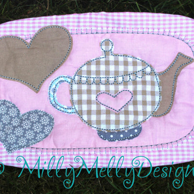Tea mug rug FULL SET of 4 designs - 6x10 hoop - In The Hoop - Machine Embroidery Design File, digital download millymellydesigns