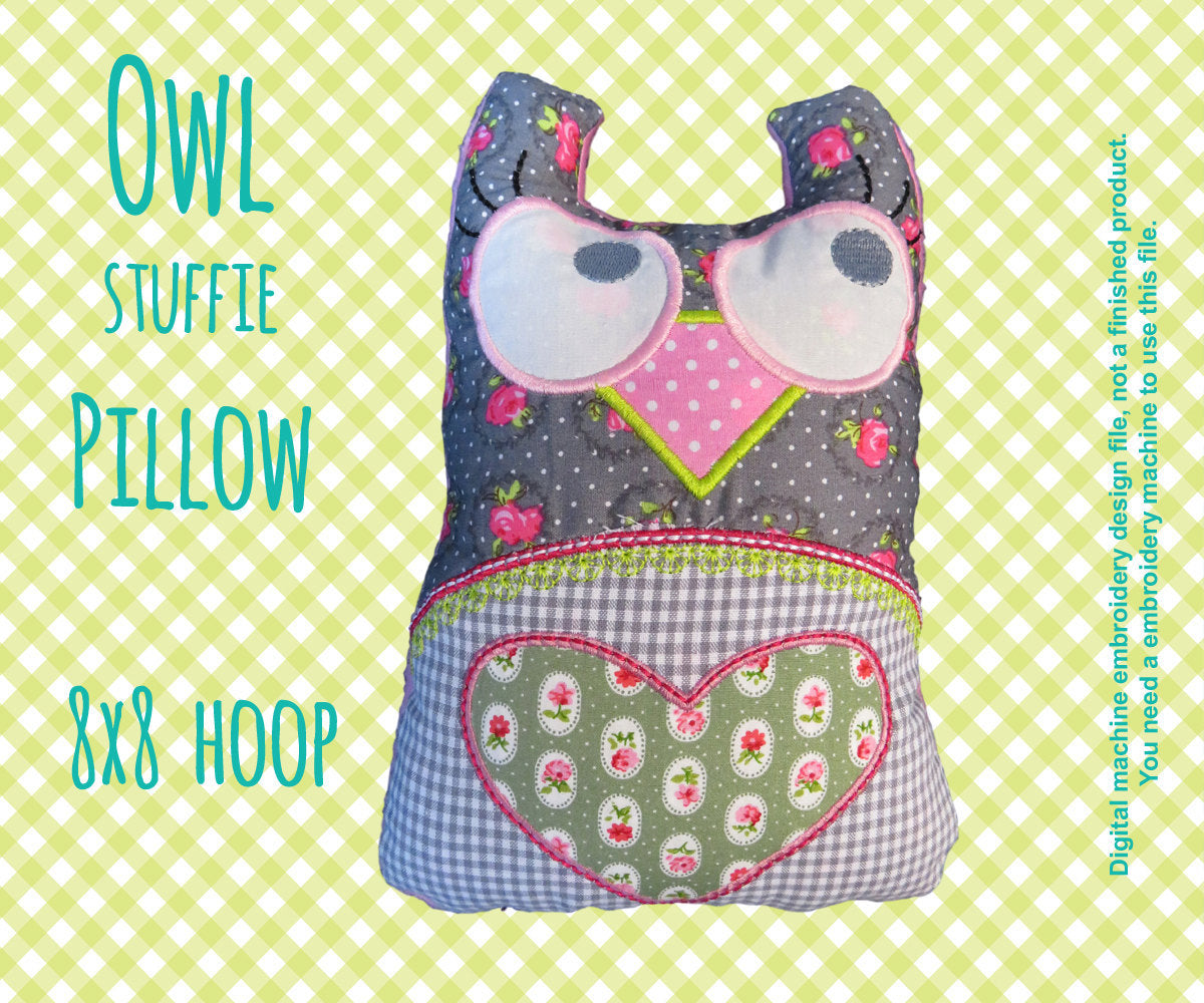 Owl stuffie-pillow - 8x8 hoop - ITH - In The Hoop - Machine Embroidery Design File, digital download millymellydesigns