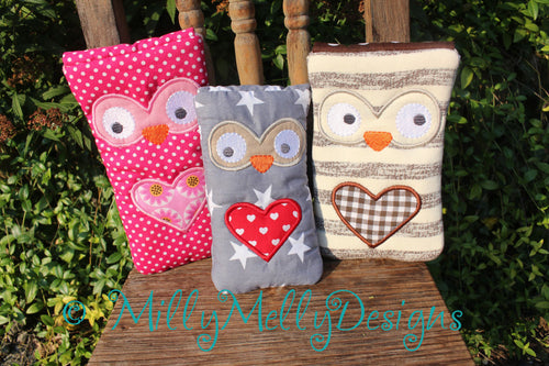 Owl phone pouches SET of 6 sizes - 5x7 hoop - ITH - In The Hoop - Machine Embroidery Design File, digital download millymellydesigns
