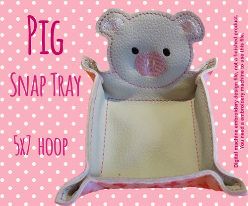 5x7 hoop - PIG snap tray - In The Hoop - Machine Embroidery Design File, digital download millymellydesigns
