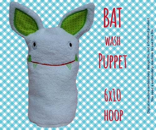 Wash Puppet - BAT - 6x10 hoop - ITH - In The Hoop - Machine Embroidery Design File, digital download millymellydesigns
