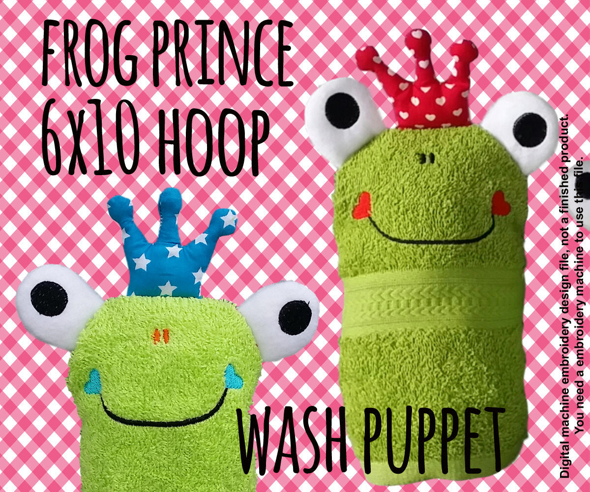 Wash Puppet - FROG PRINCE - 6x10 hoop - ITH - In The Hoop - Machine Embroidery Design File, digital download millymellydesigns