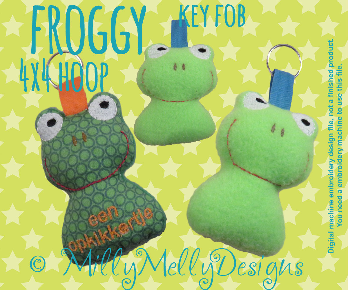 Froggy key fob - 4x4  hoop - ITH - Machine Embroidery Design File, digital download millymellydesigns