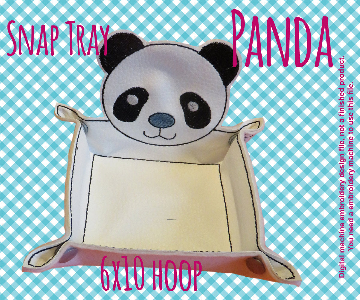 6x10 hoop - PANDA snap tray - In The Hoop - Machine Embroidery Design File, digital download millymellydesigns
