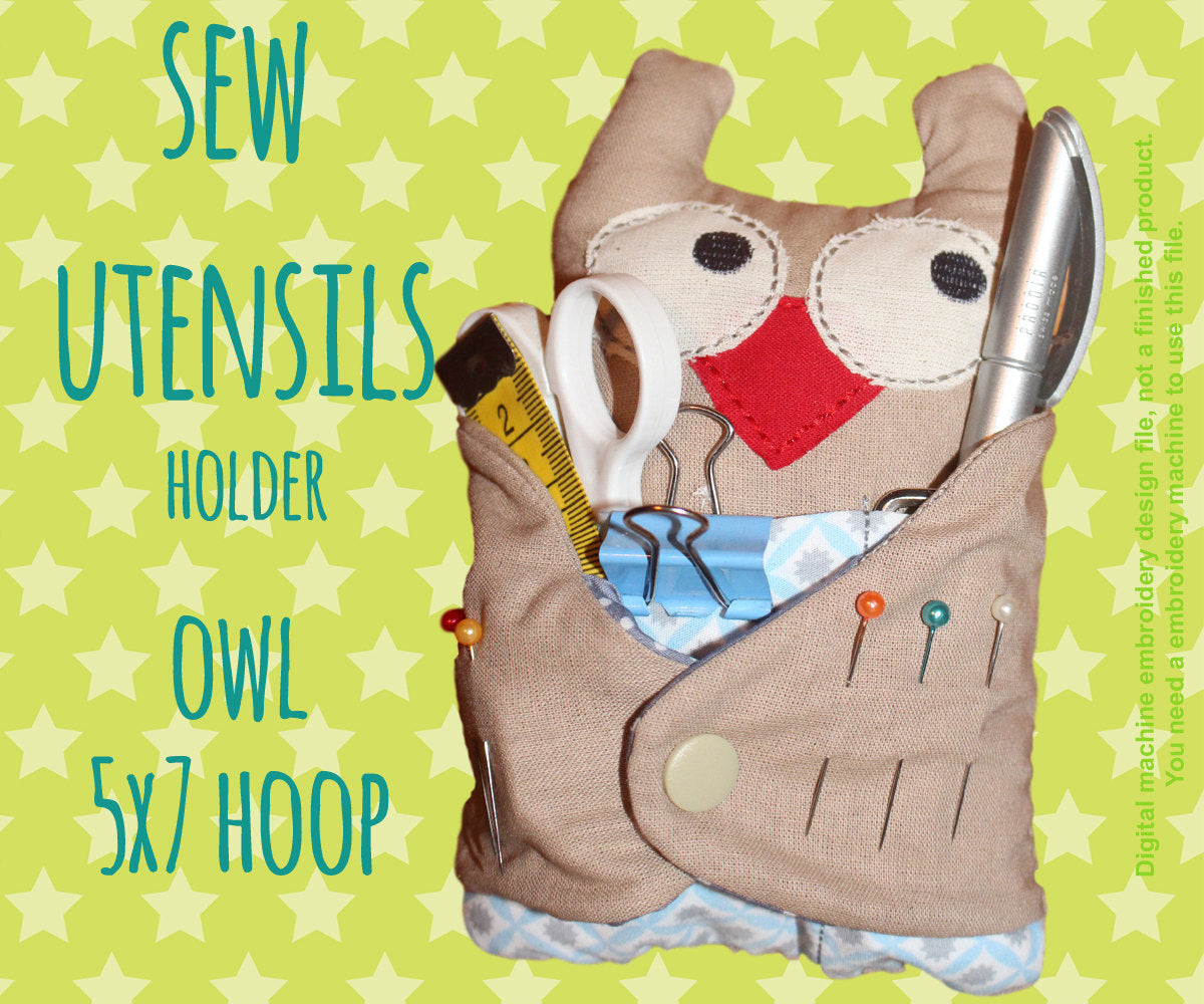 Owl sew utensils holder - 5x7 hoop - In The Hoop - Machine Embroidery Design File, digital download millymellydesigns