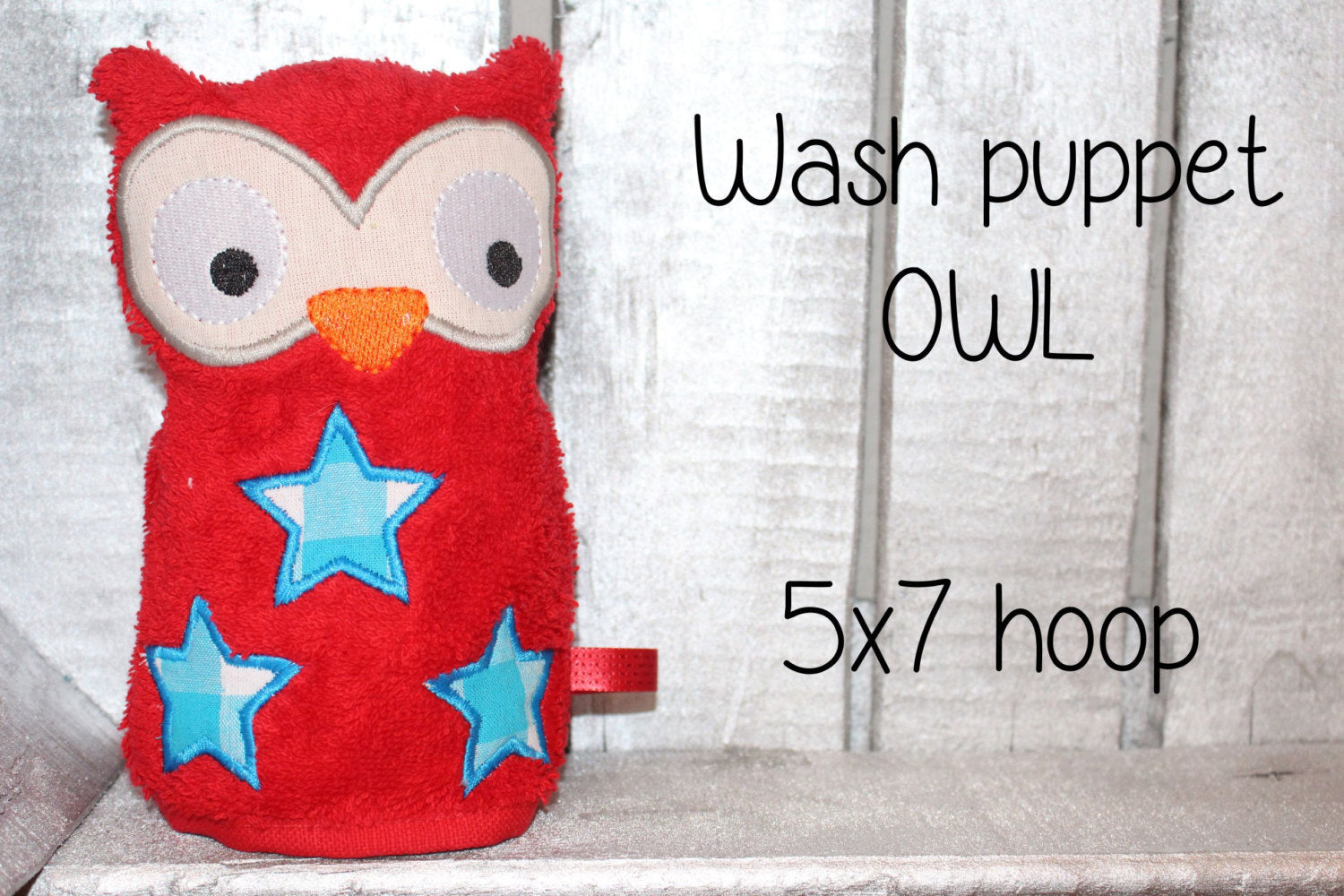 OWL Wash Puppet - 5x7 hoop - ITH - machine embroidery file - digital download - millymellydesigns