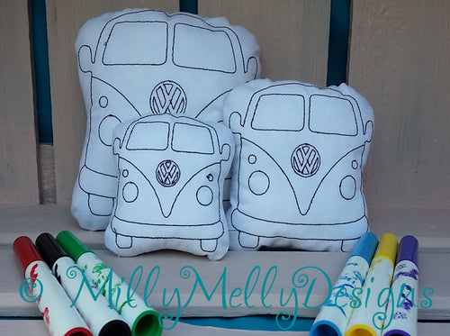 VW Van - coloring in soft toy - millymellydesigns