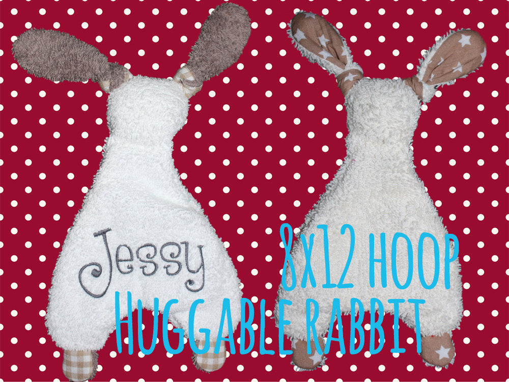8x12 hoop - Rabbit Baby Toy - Cute rabbit soft toys - In The Hoop - Machine Embroidery Design File, digital download millymellydesigns
