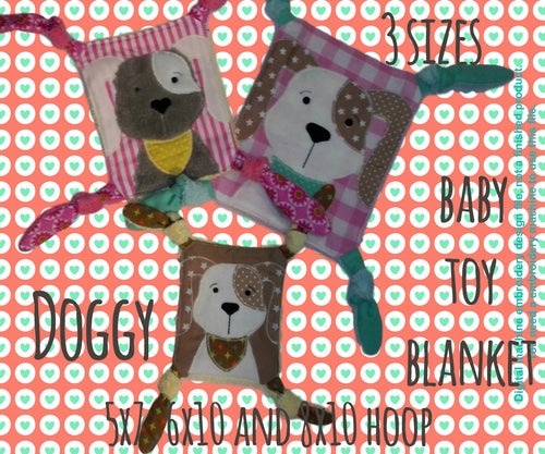 SET DOGGY Baby Toy Blankets - 5x7, 6x10 & 8x10 hoop - ITH - machine embroidery file - digital download millymellydesigns
