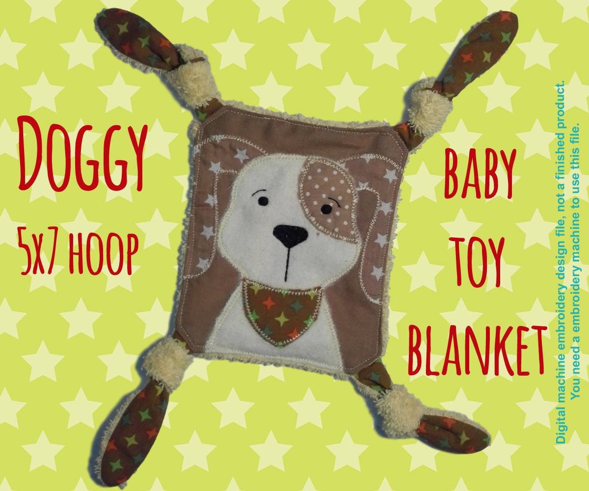 DOGGY Baby Toy Blanket - 5x7 hoop - ITH - machine embroidery file - digital download millymellydesigns