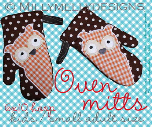 6x10 hoop - Oven Mitts - OWL - ITH - In The Hoop - Machine Embroidery Design File, digital download millymellydesigns