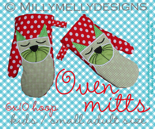 6x10 hoop - Oven Mitts - CAT - ITH - In The Hoop - Machine Embroidery Design File, digital download millymellydesigns