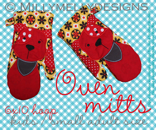 6x10 hoop - Oven Mitts - DOG - ITH - In The Hoop - Machine Embroidery Design File, digital download millymellydesigns
