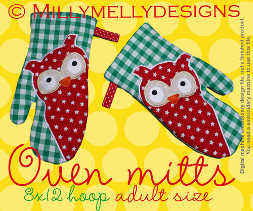 8x12 hoop - Oven Mitts - OWL - ITH - In The Hoop - Machine Embroidery Design File, digital download millymellydesigns