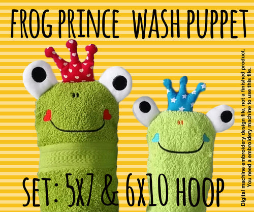 Wash Puppet - FROG PRINCE - Set 5x7 and 6x10 hoop - ITH - In The Hoop - Machine Embroidery Design File, digital download millymellydesigns