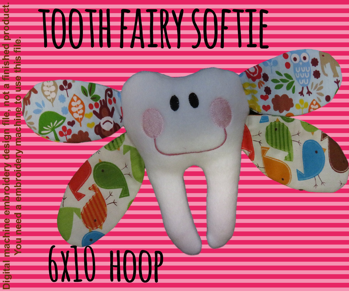 Tooth fairy softie toy - 6x10 hoop - ITH - In The Hoop - Machine Embroidery Design File, digital download - millymellydesigns