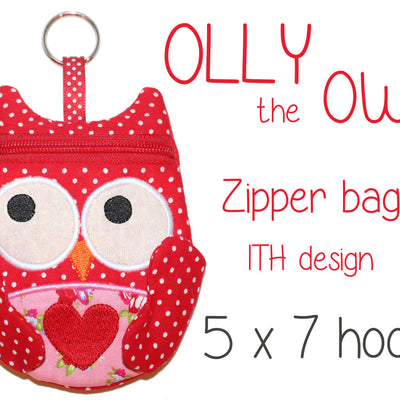 5x7 hoop OWL zipper bag, completely made in ONE hooping! Machine Embroidery Design File, digital download millymellydesigns