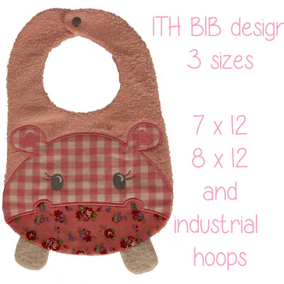7x12, 8x12 AND industrial hoop sizes included! - BIB - hippo - Machine Embroidery Design File, digital download millymellydesigns