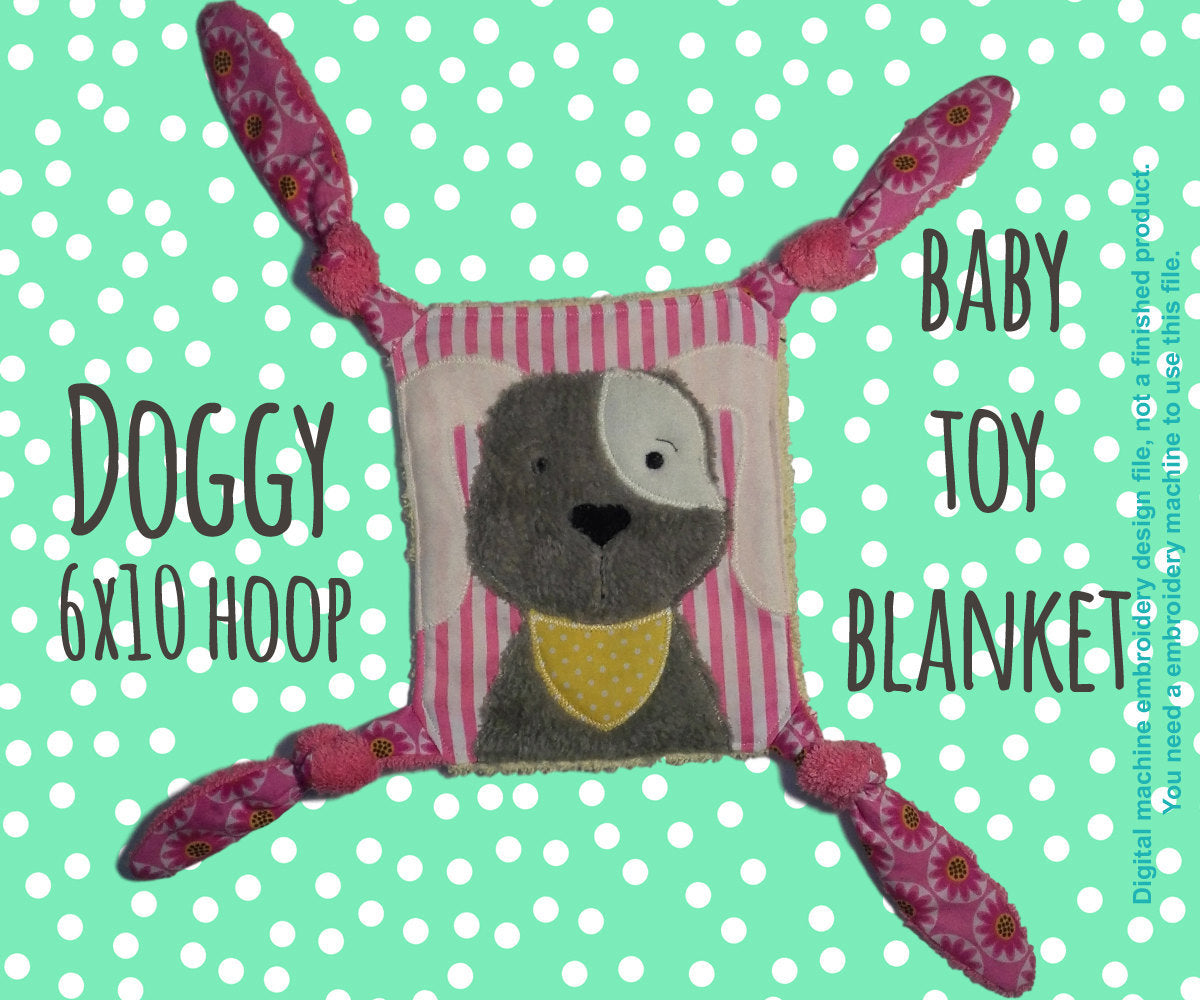 DOGGY 6x10 hoop - Baby Toy Blanket - ITH - In The Hoop - Machine Embroidery Design File, digital download millymellydesigns