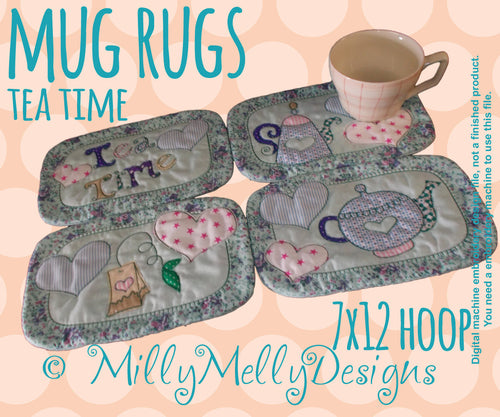 Tea mug rug FULL SET of 4 designs - 7x12 hoop - In The Hoop - Machine Embroidery Design File, digital download millymellydesigns