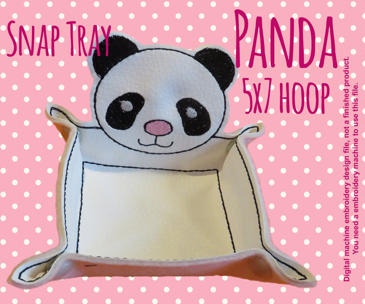 5x7 hoop - PANDA snap tray - In The Hoop - Machine Embroidery Design File, digital download millymellydesigns