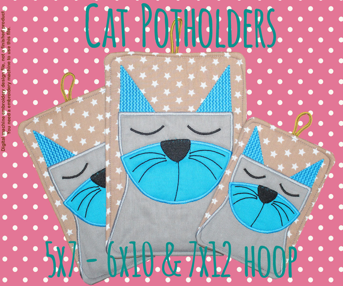 CAT potholder SET - 5x7, 6x10 and 7x12 hoop - In The Hoop - Machine Embroidery Design File, digital download millymellydesigns