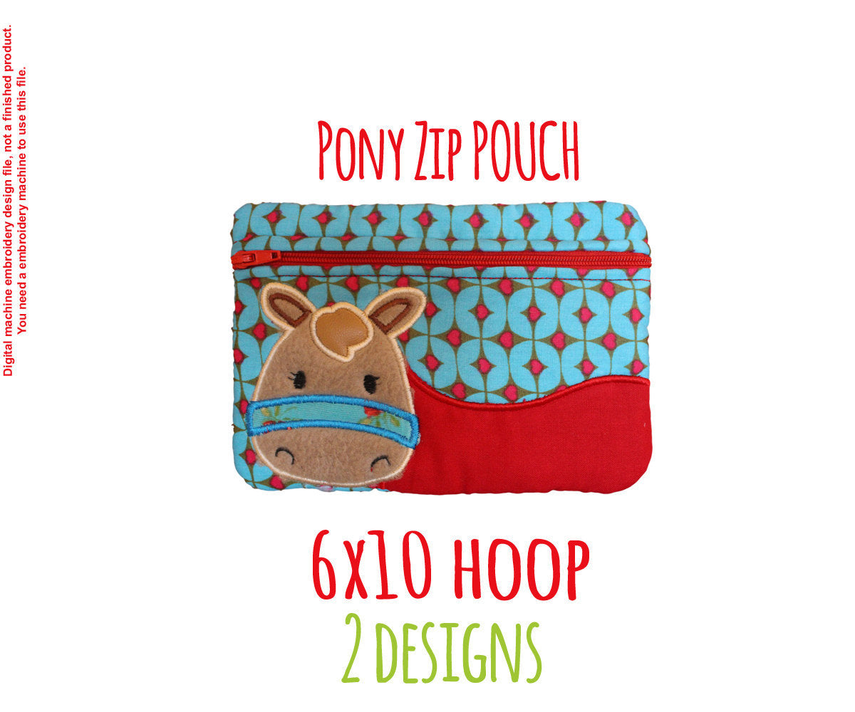 Pony Pouch - 6x10 hoop - ITH - In The Hoop - Machine Embroidery Design File, digital download millymellydesigns