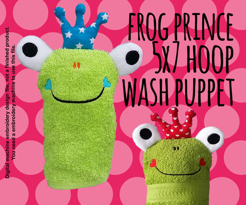 Wash Puppet - FROG PRINCE - 5x7 hoop - ITH - In The Hoop - Machine Embroidery Design File, digital download millymellydesigns