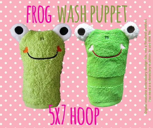 Wash Puppet - FROG - 5x7 hoop - ITH - In The Hoop - Machine Embroidery Design File, digital download millymellydesigns