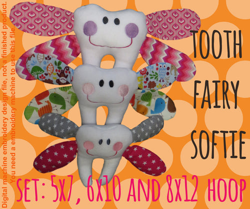 Tooth fairy softie toy - SET for the 5x7, 6x10 and 8x12 hoop - ITH - In The Hoop - Machine Embroidery Design File, digital download millymellydesigns