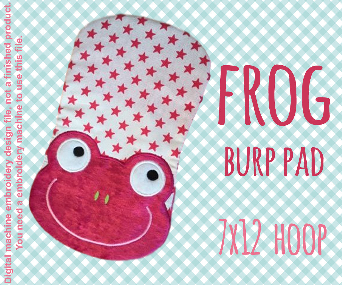 7x12 hoop - BURP PAD - Froggy - Machine Embroidery Design File, digital download millymellydesigns