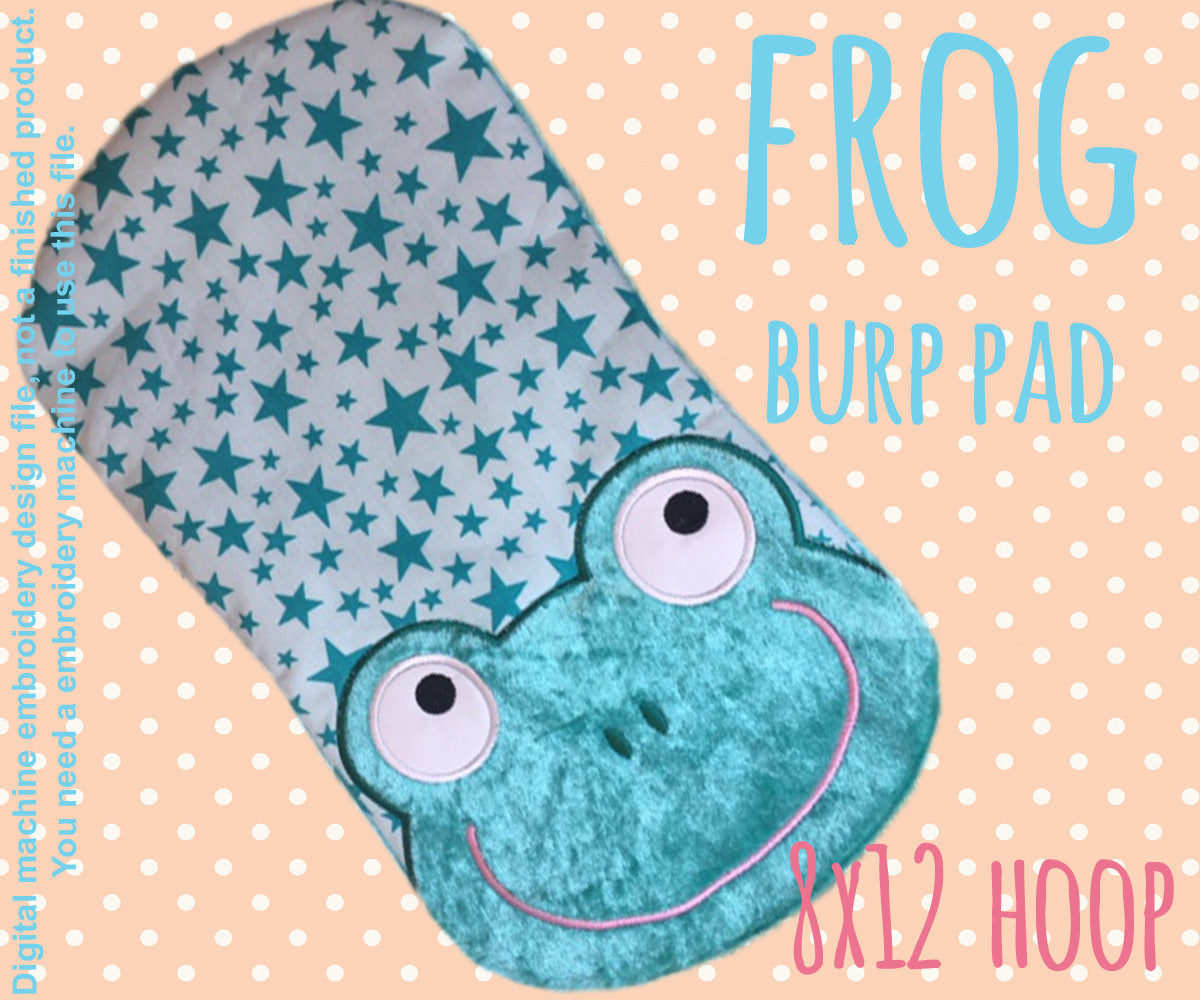 8x12 hoop - BURP PAD - Froggy - Machine Embroidery Design File, digital download millymellydesigns