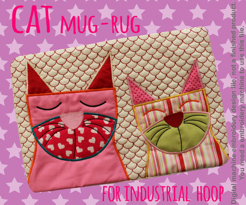 CATS mug rug - for INDUSTRIAL hoop - In The Hoop - Machine Embroidery Design File, digital download millymellydesigns