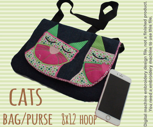8x12 hoop CAT bag/purse, completely made in TWO hoopings! Machine Embroidery Design File, digital download millymellydesigns