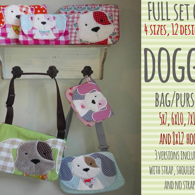 FULL SET 4 hoop sizes dog bag/purse, completely made in TWO hoopings! Machine Embroidery Design File, digital download millymellydesigns