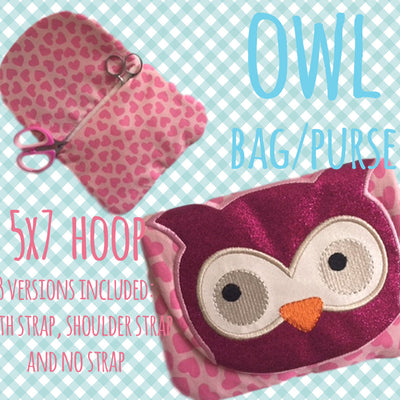 5x7 hoop OWL bag/purse, completely made in TWO hoopings! Machine Embroidery Design File, digital download millymellydesigns