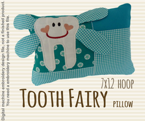 Tooth fairy pillow - 7x12 hoop - ITH - In The Hoop - Machine Embroidery Design File, digital download millymellydesigns