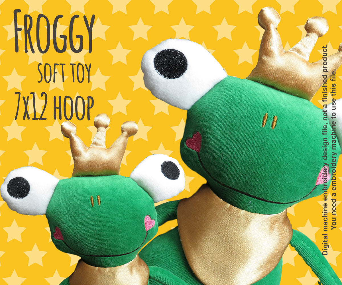 FROG PRINCE 7x12 hoop - soft toy - ITH - In The Hoop - Machine Embroidery Design File, digital download millymellydesigns