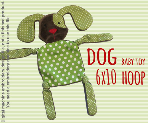 DOGGY 6x10 hoop - Baby Toy - ITH - In The Hoop - Machine Embroidery Design File, digital download millymellydesigns