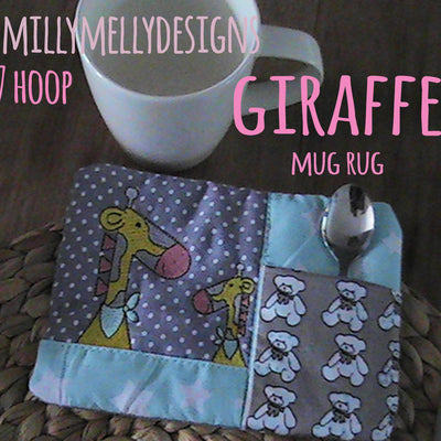 Giraffes mug rug - 5x7 hoop - In The Hoop - Machine Embroidery Design File, digital download millymellydesigns