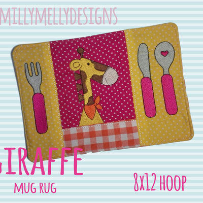 Giraffe mug rug - 8x12 hoop - In The Hoop - Machine Embroidery Design File, digital download millymellydesigns