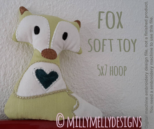 5x7 hoop - Cute fox soft toy - In The Hoop - Machine Embroidery Design File, digital download millymellydesigns