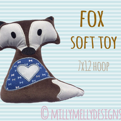 7x12 hoop - Cute fox soft toy - In The Hoop - Machine Embroidery Design File, digital download millymellydesigns