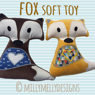 SET of 5 sizes - Cute fox soft toy - In The Hoop - Machine Embroidery Design File, digital download millymellydesigns