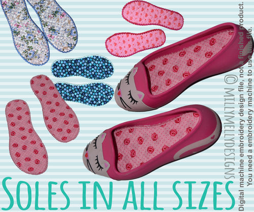 Shoe inlays - soles - different hoop sizes included - Ith - In The Hoop - Machine Embroidery Design File, digital download millymellydesigns