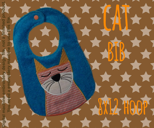 8x12 hoop - BIB - Cat - Machine Embroidery Design File, digital download millymellydesigns